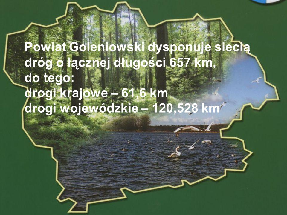 Powiat Goleniowski dysponuje siecią dróg o łącznej długości 657 km, do tego: