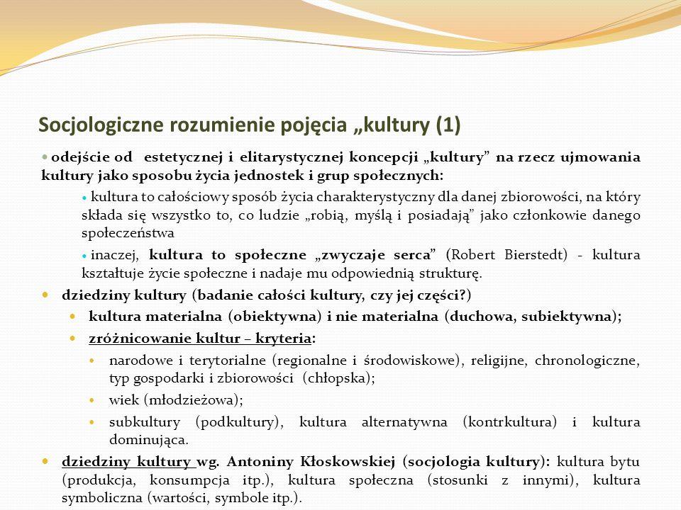 """Socjologiczne rozumienie pojęcia """"kultury (1)"""