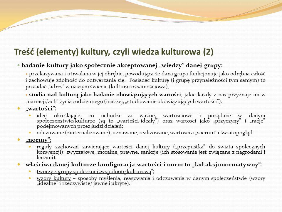 Treść (elementy) kultury, czyli wiedza kulturowa (2)