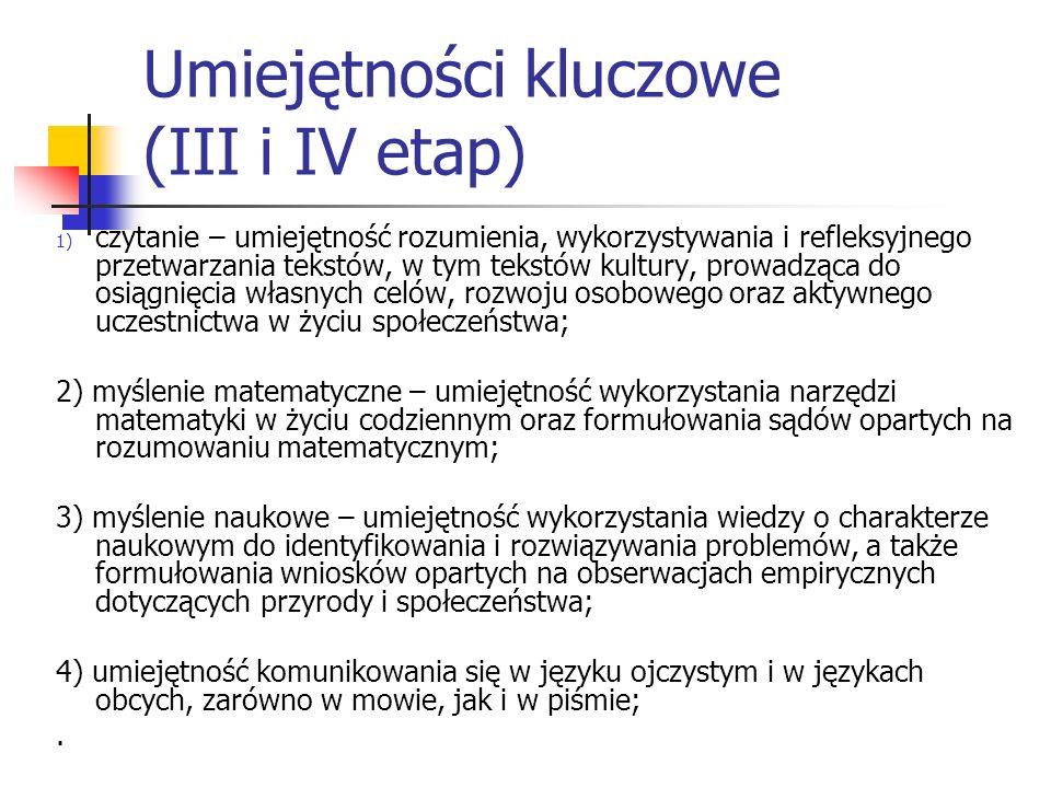 Umiejętności kluczowe (III i IV etap)