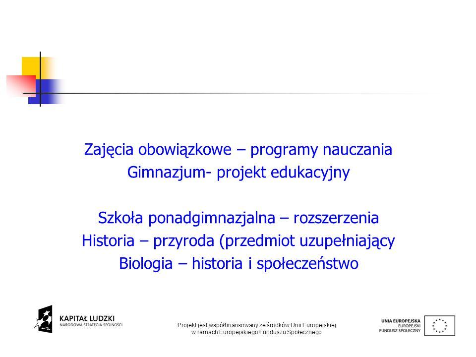 Zajęcia obowiązkowe – programy nauczania Gimnazjum- projekt edukacyjny