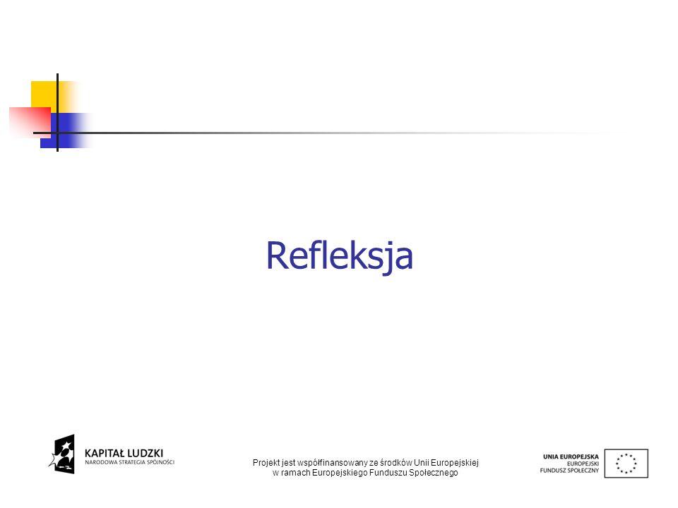 Refleksja Projekt jest współfinansowany ze środków Unii Europejskiej