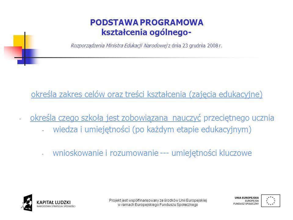 określa zakres celów oraz treści kształcenia (zajęcia edukacyjne)