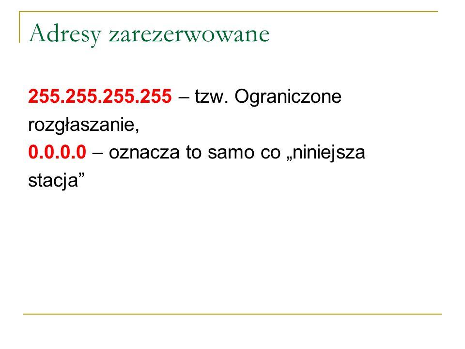 Adresy zarezerwowane 255.255.255.255 – tzw. Ograniczone rozgłaszanie,