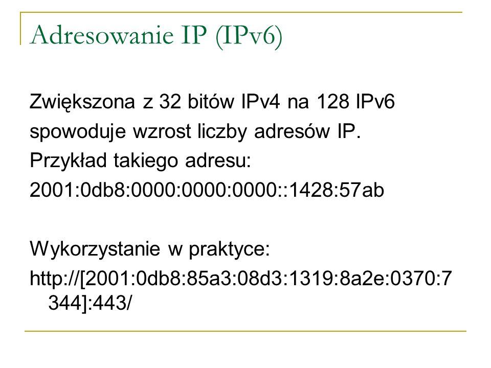 Adresowanie IP (IPv6) Zwiększona z 32 bitów IPv4 na 128 IPv6