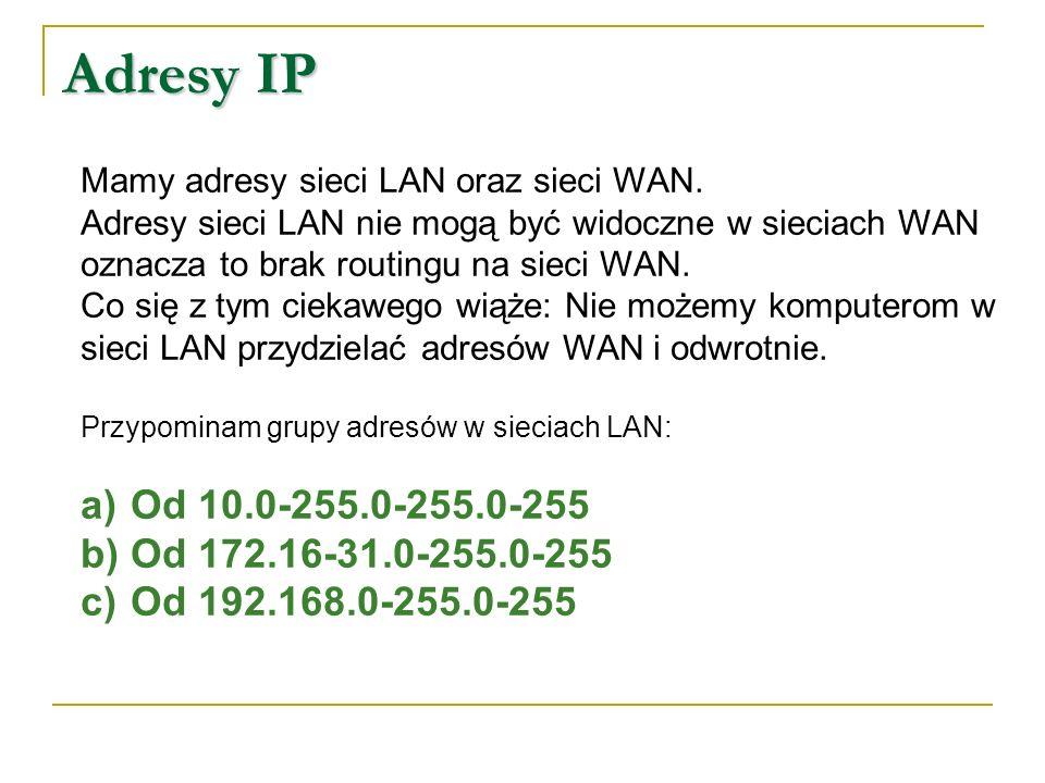 Adresy IP Mamy adresy sieci LAN oraz sieci WAN. Adresy sieci LAN nie mogą być widoczne w sieciach WAN.
