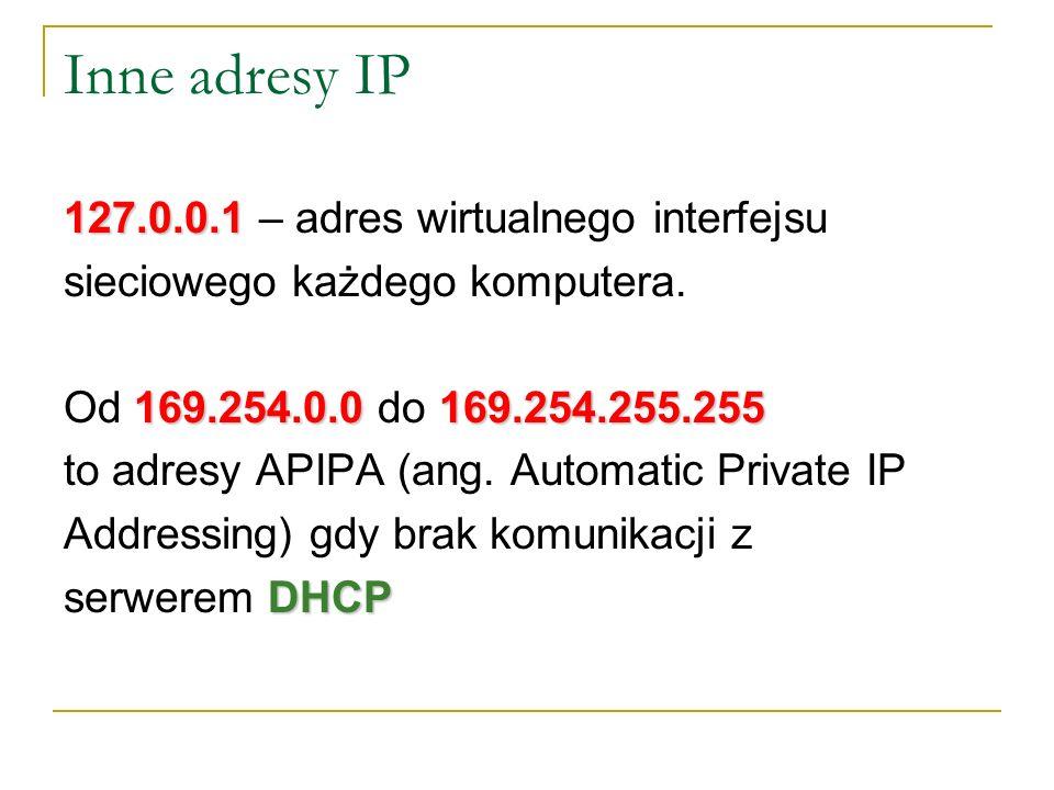 Inne adresy IP 127.0.0.1 – adres wirtualnego interfejsu
