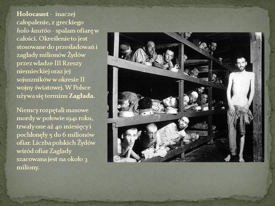 Holocaust - inaczej całopalenie, z greckiego holo-kautóo - spalam ofiarę w całości. Określenie to jest stosowane do prześladowań i zagłady milionów Żydów przez władze III Rzeszy niemieckiej oraz jej sojuszników w okresie II wojny światowej. W Polsce używa się terminu Zagłada.