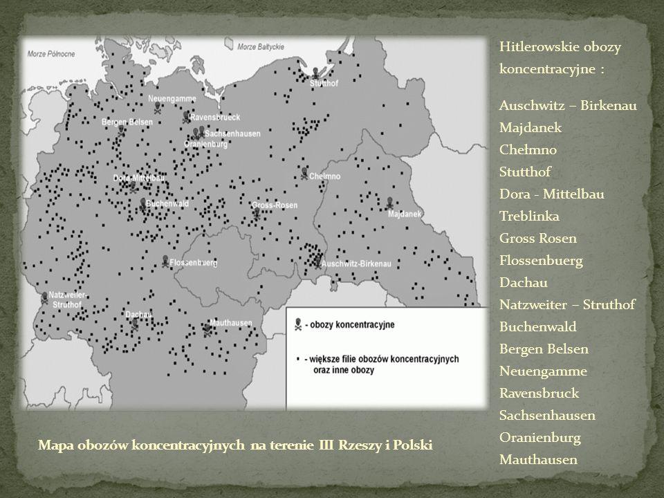 Mapa obozów koncentracyjnych na terenie III Rzeszy i Polski