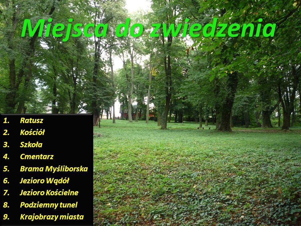 Miejsca do zwiedzenia Ratusz Kościół Szkoła Cmentarz Brama Myśliborska