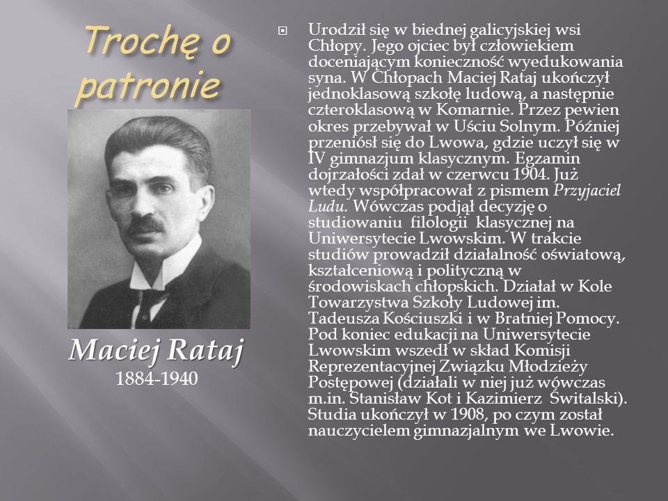 Trochę o patronie Maciej Rataj 1884-1940