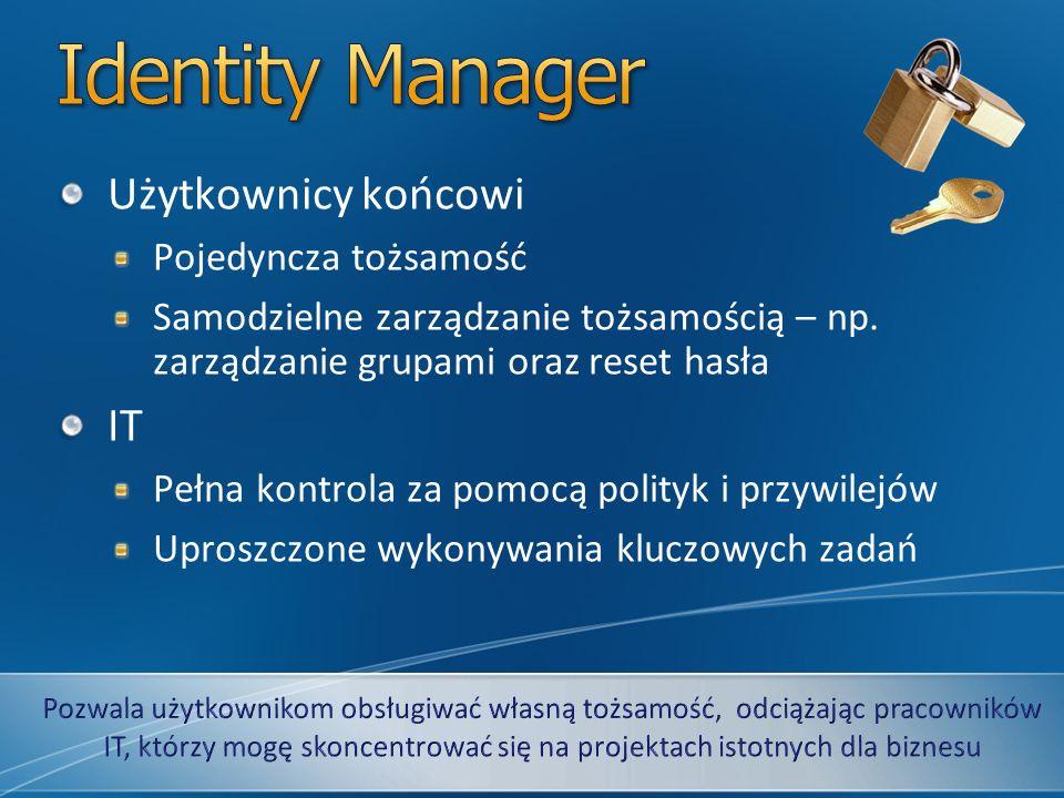 Identity Manager Użytkownicy końcowi IT Pojedyncza tożsamość