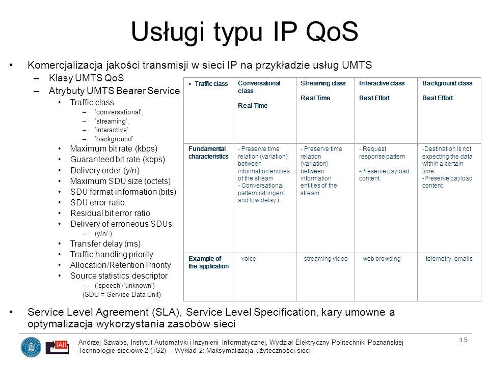 Usługi typu IP QoS Komercjalizacja jakości transmisji w sieci IP na przykładzie usług UMTS. Klasy UMTS QoS.
