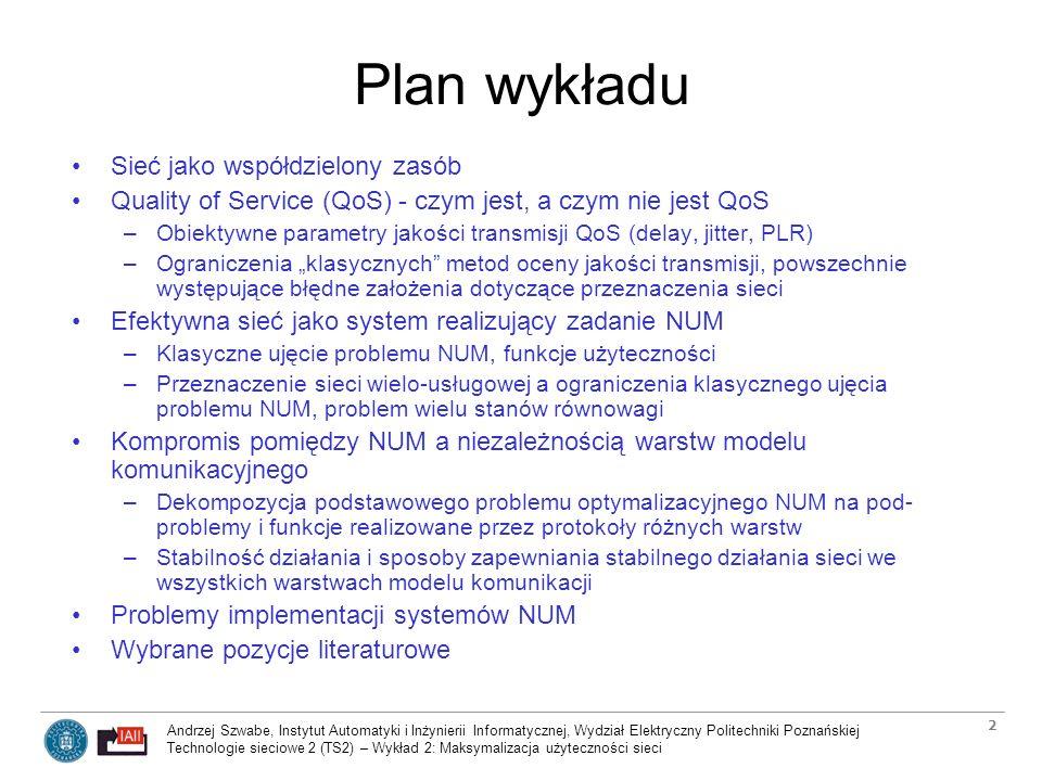 Plan wykładu Sieć jako współdzielony zasób