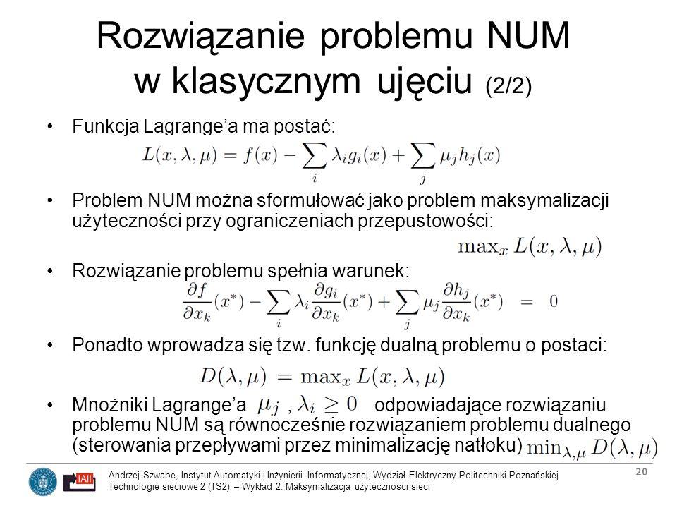 Rozwiązanie problemu NUM w klasycznym ujęciu (2/2)