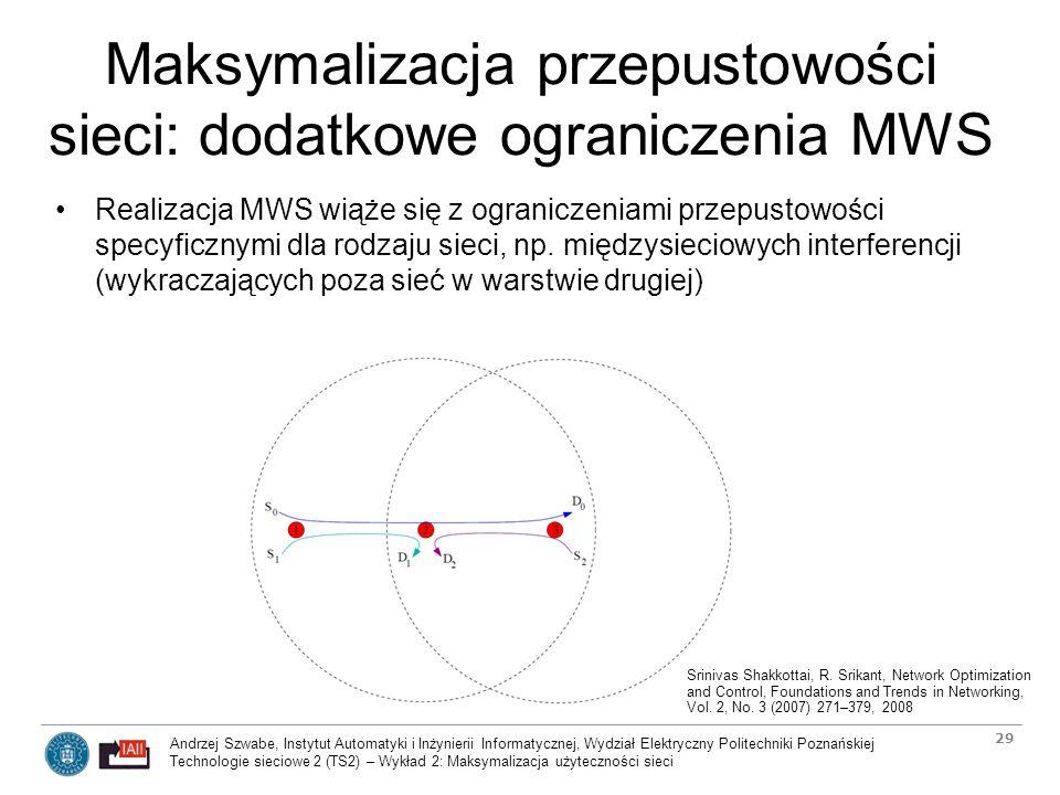 Maksymalizacja przepustowości sieci: dodatkowe ograniczenia MWS