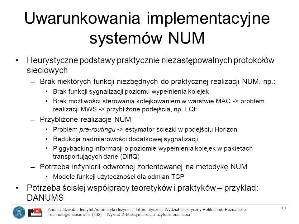 Uwarunkowania implementacyjne systemów NUM