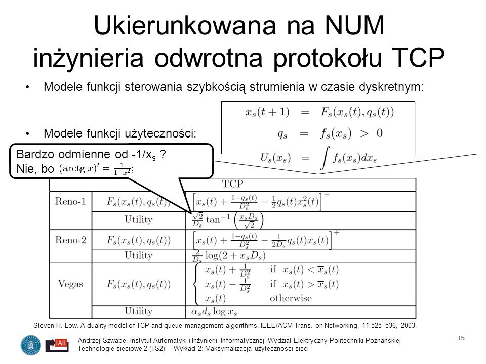 Ukierunkowana na NUM inżynieria odwrotna protokołu TCP