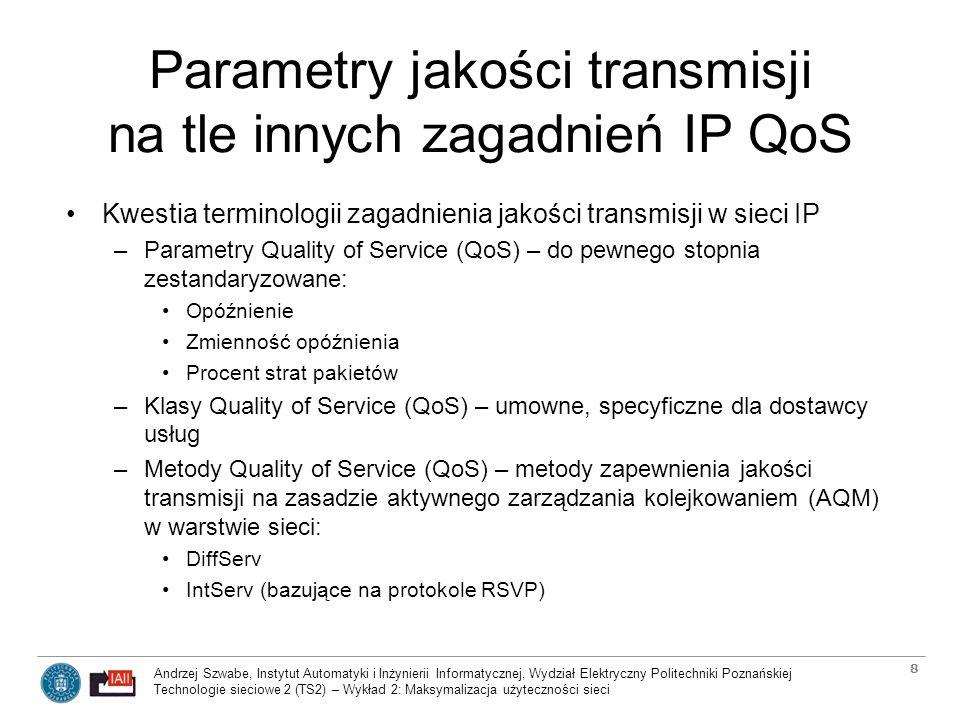 Parametry jakości transmisji na tle innych zagadnień IP QoS