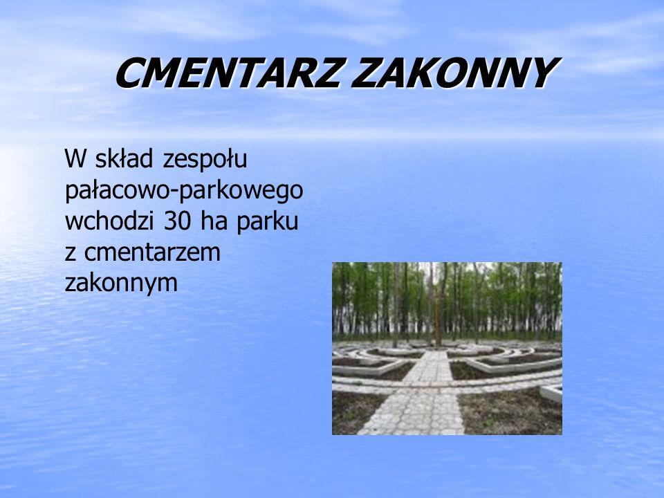 CMENTARZ ZAKONNY W skład zespołu pałacowo-parkowego wchodzi 30 ha parku z cmentarzem zakonnym