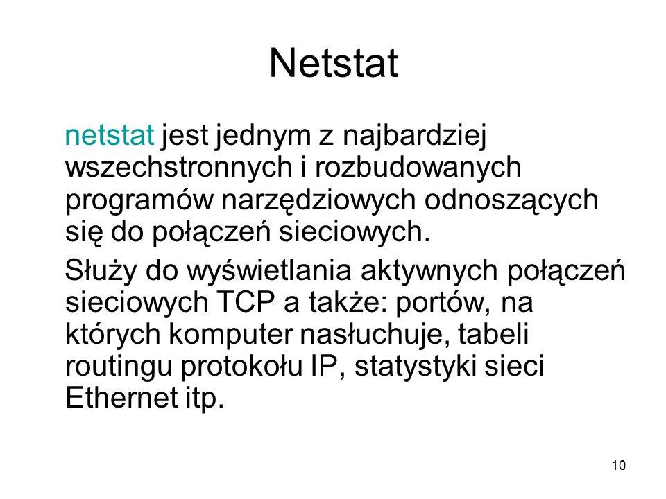 Netstat netstat jest jednym z najbardziej wszechstronnych i rozbudowanych programów narzędziowych odnoszących się do połączeń sieciowych.