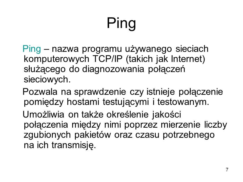 Ping Ping – nazwa programu używanego sieciach komputerowych TCP/IP (takich jak Internet) służącego do diagnozowania połączeń sieciowych.