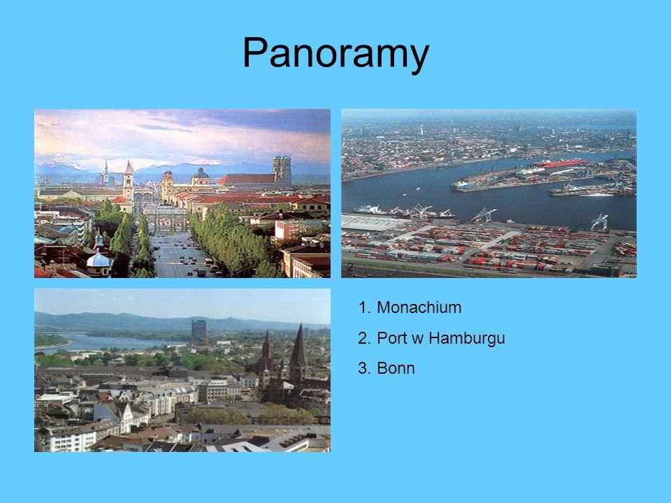 Panoramy 1 2 1. Monachium 2. Port w Hamburgu 3. Bonn 3