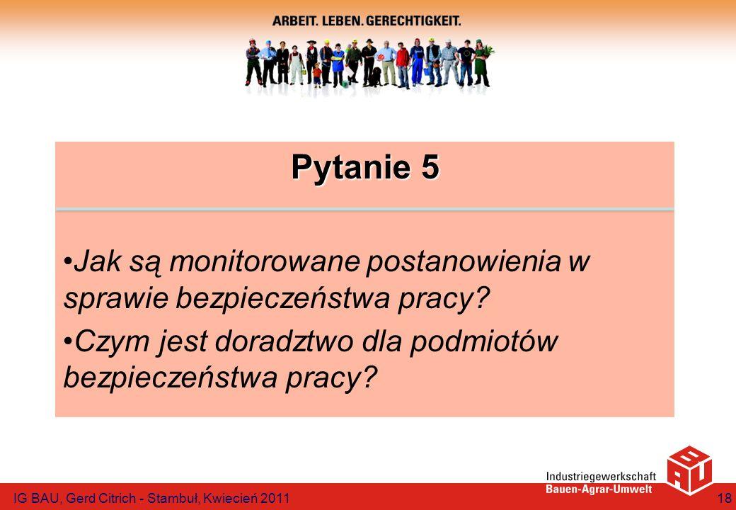 Pytanie 5 Jak są monitorowane postanowienia w sprawie bezpieczeństwa pracy Czym jest doradztwo dla podmiotów bezpieczeństwa pracy