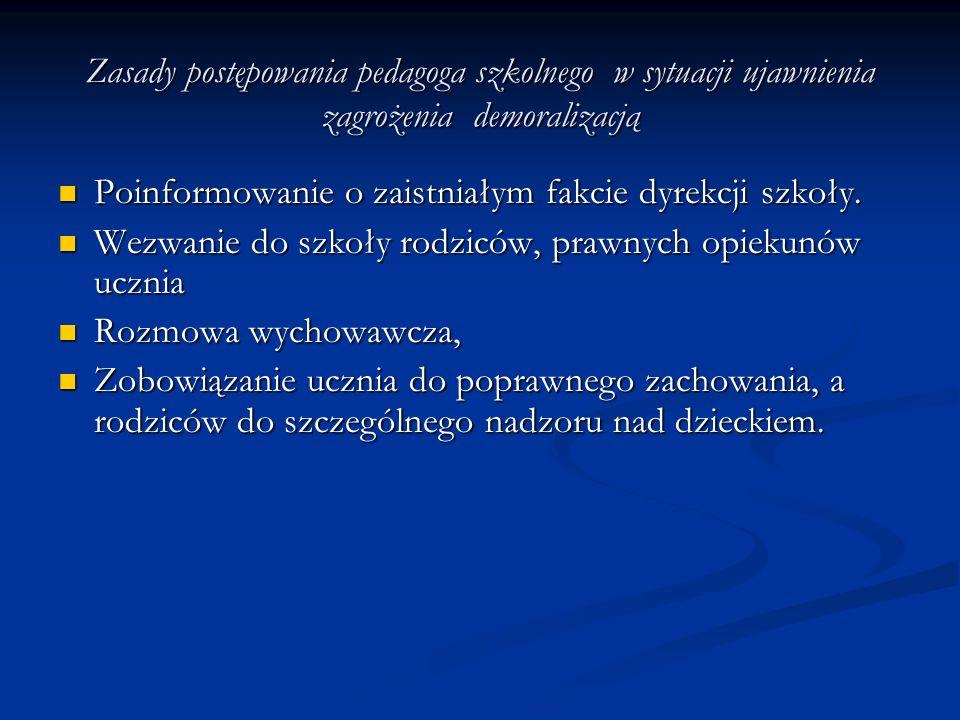 Zasady postępowania pedagoga szkolnego w sytuacji ujawnienia zagrożenia demoralizacją