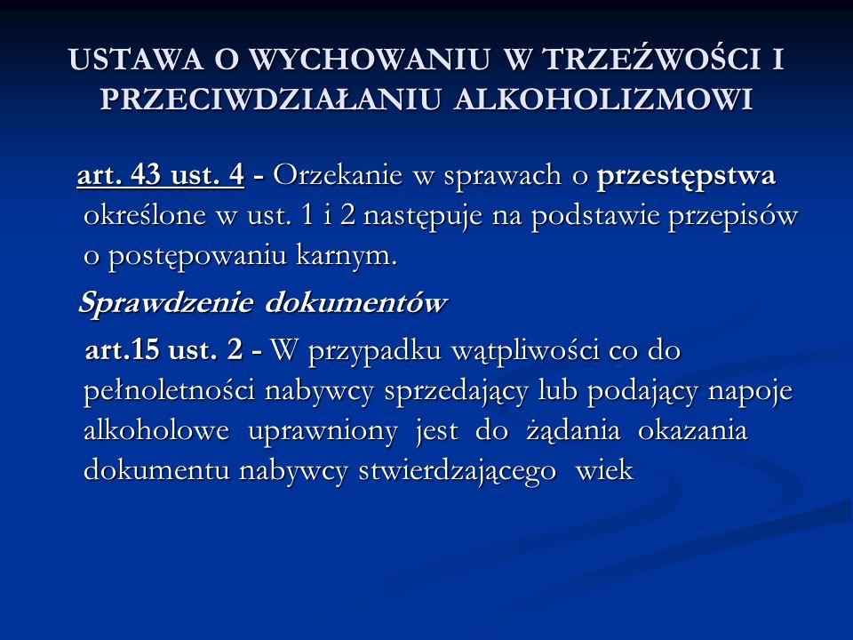 USTAWA O WYCHOWANIU W TRZEŹWOŚCI I PRZECIWDZIAŁANIU ALKOHOLIZMOWI