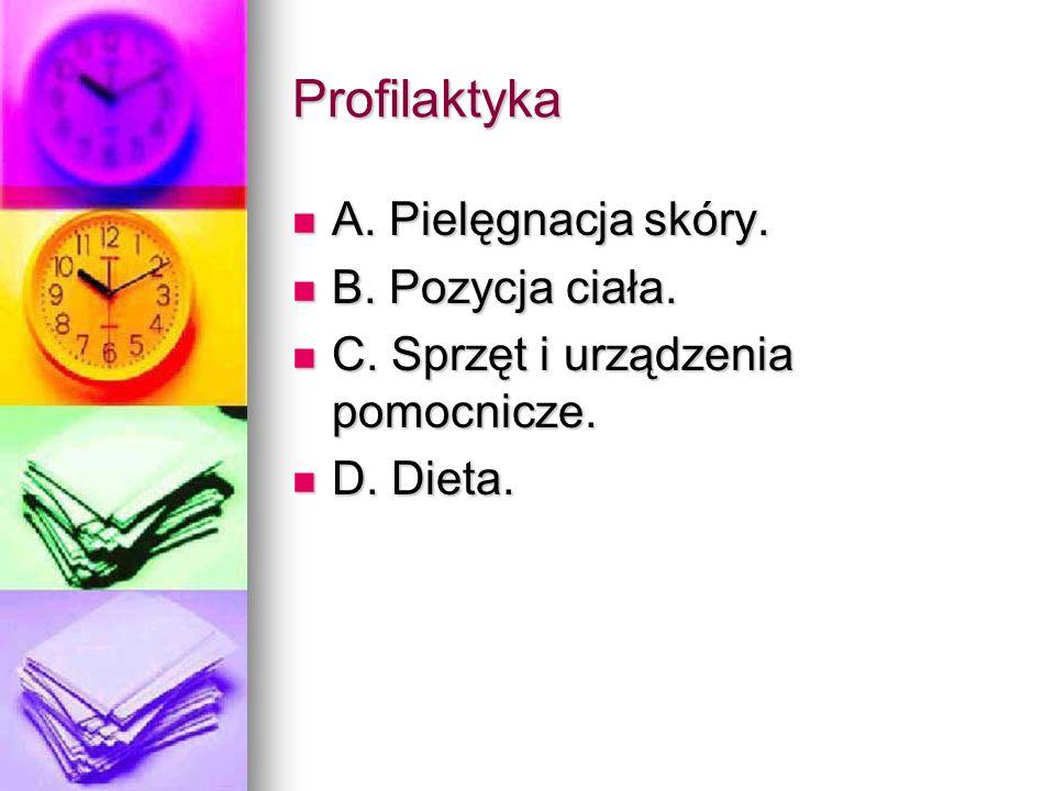Profilaktyka A. Pielęgnacja skóry. B. Pozycja ciała.