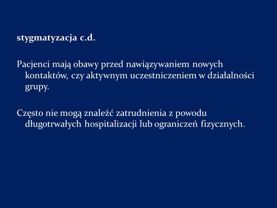 stygmatyzacja c.d. Pacjenci mają obawy przed nawiązywaniem nowych kontaktów, czy aktywnym uczestniczeniem w działalności grupy.