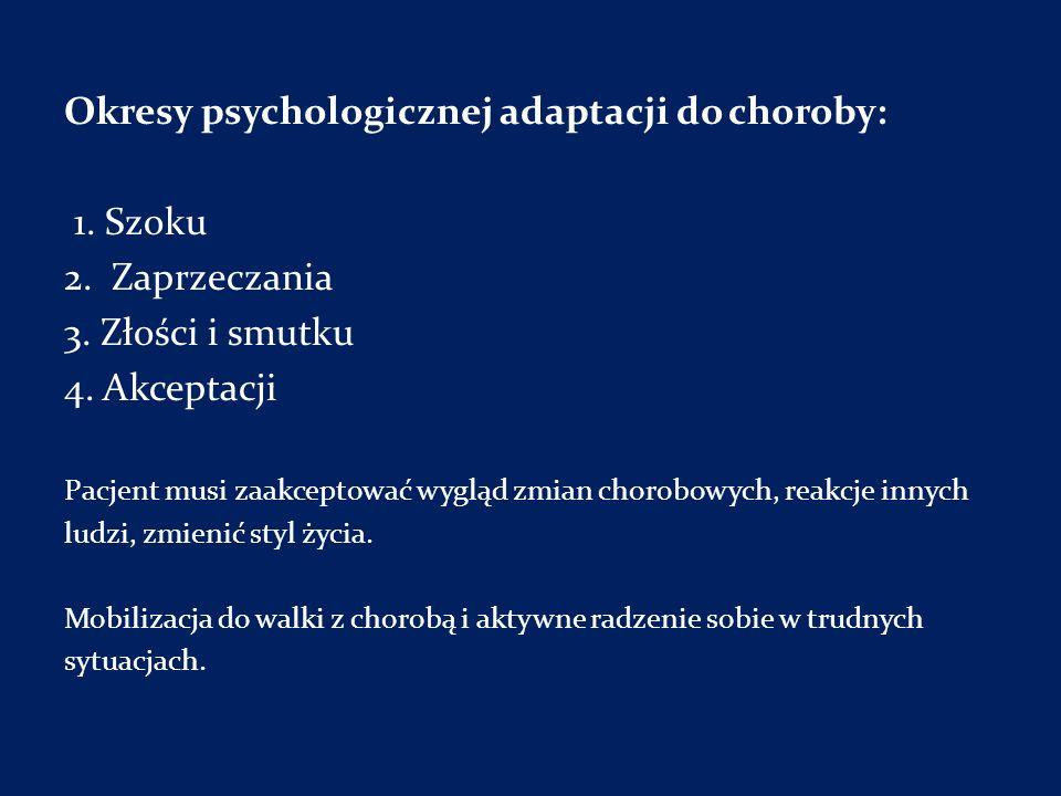 Okresy psychologicznej adaptacji do choroby: 1. Szoku 2. Zaprzeczania