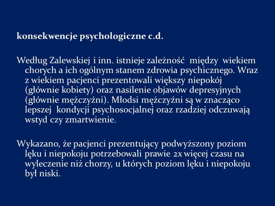 konsekwencje psychologiczne c. d. Według Zalewskiej i inn