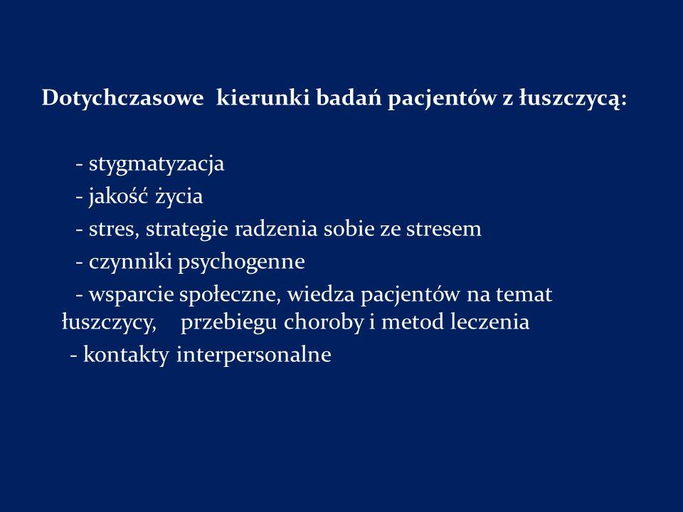 Dotychczasowe kierunki badań pacjentów z łuszczycą: - stygmatyzacja - jakość życia - stres, strategie radzenia sobie ze stresem - czynniki psychogenne - wsparcie społeczne, wiedza pacjentów na temat łuszczycy, przebiegu choroby i metod leczenia - kontakty interpersonalne