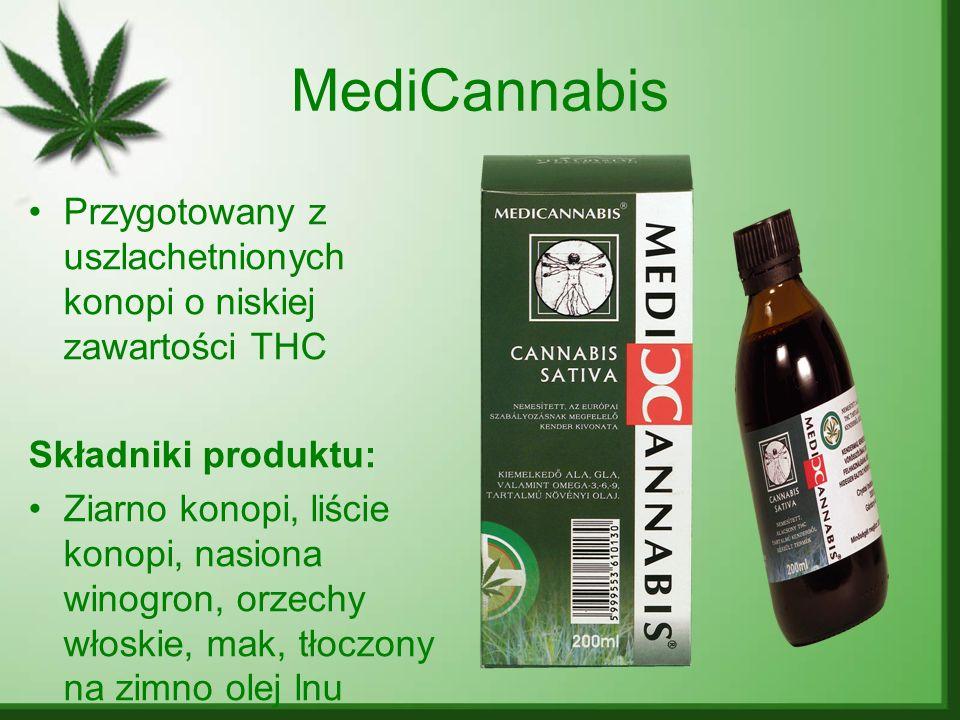 MediCannabis Przygotowany z uszlachetnionych konopi o niskiej zawartości THC. Składniki produktu: