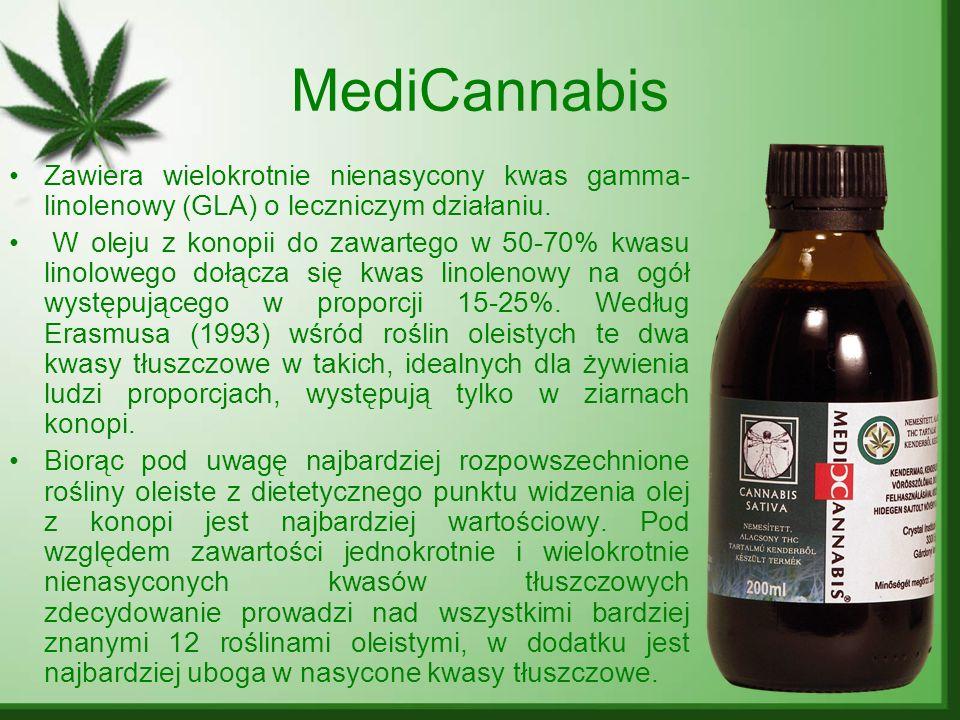 MediCannabis Zawiera wielokrotnie nienasycony kwas gamma- linolenowy (GLA) o leczniczym działaniu.
