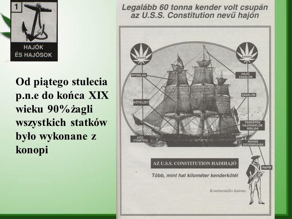 Od piątego stulecia p.n.e do końca XIX wieku 90%żagli wszystkich statków było wykonane z konopi