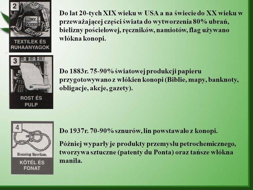 Do lat 20-tych XIX wieku w USA a na świecie do XX wieku w przeważającej części świata do wytworzenia 80% ubrań, bielizny pościelowej, ręczników, namiotów, flag używano włókna konopi.