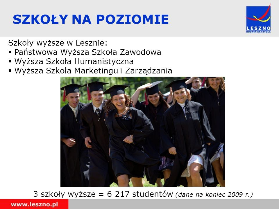 SZKOŁY NA POZIOMIE Szkoły wyższe w Lesznie: