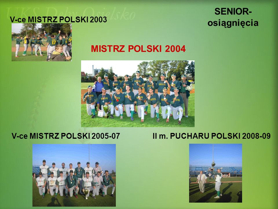 SENIOR-osiągnięcia MISTRZ POLSKI 2004 V-ce MISTRZ POLSKI 2003