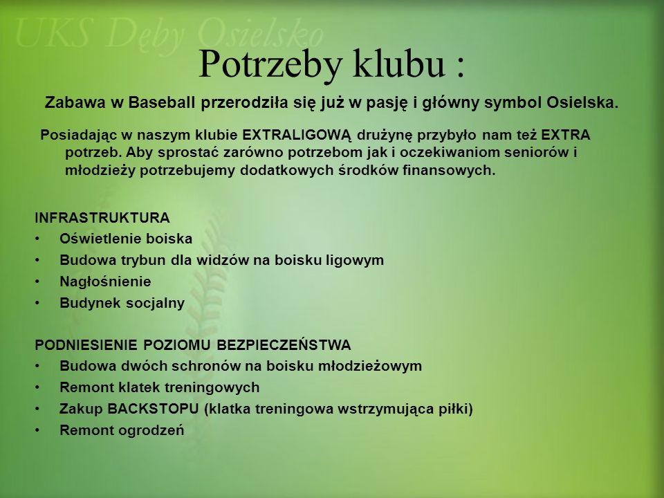 Potrzeby klubu : Zabawa w Baseball przerodziła się już w pasję i główny symbol Osielska.