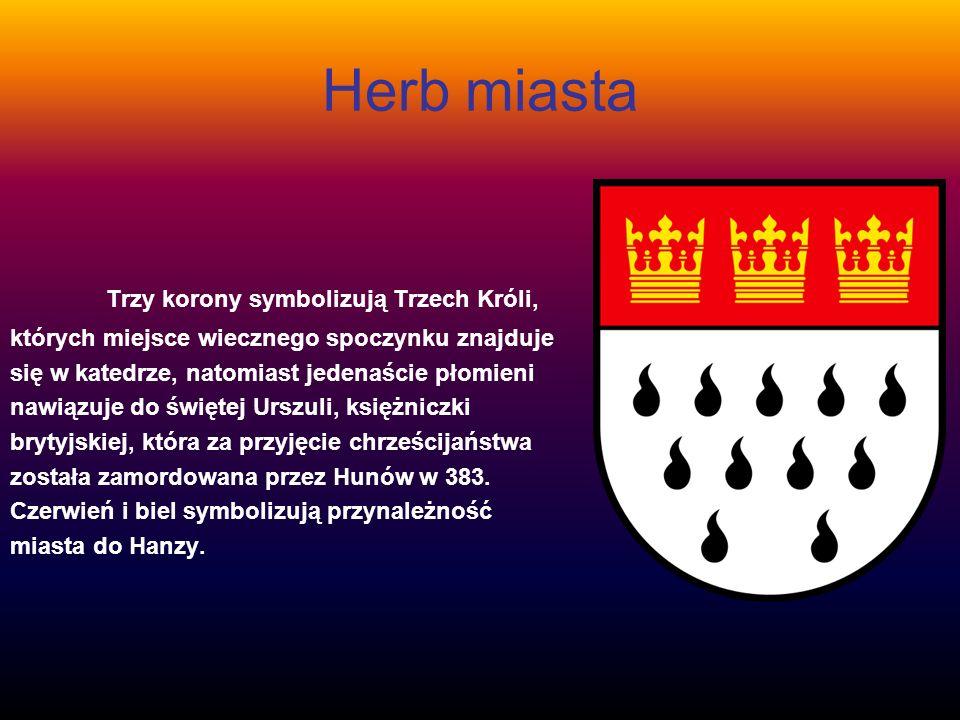 Herb miasta Trzy korony symbolizują Trzech Króli,