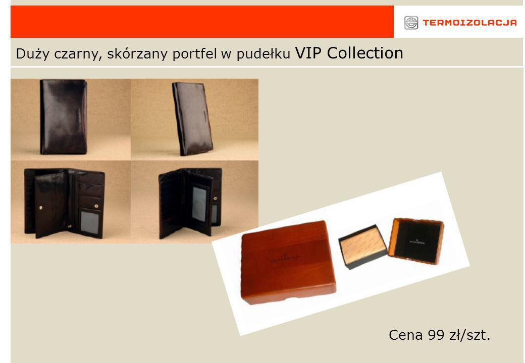 Duży czarny, skórzany portfel w pudełku VIP Collection