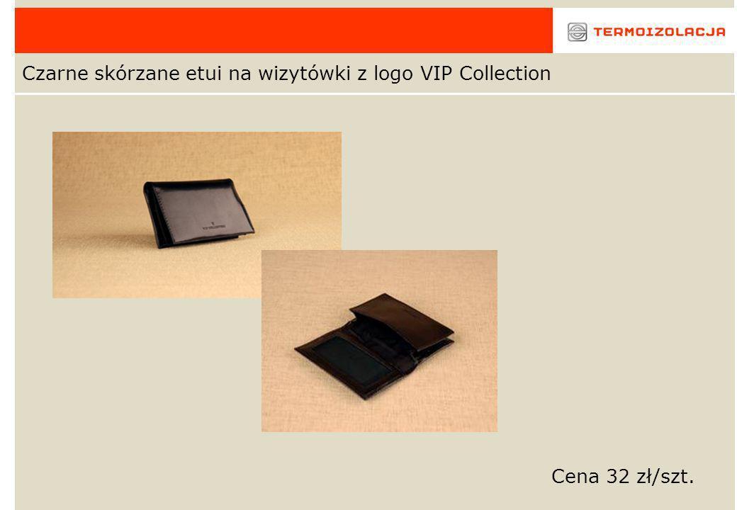 Czarne skórzane etui na wizytówki z logo VIP Collection