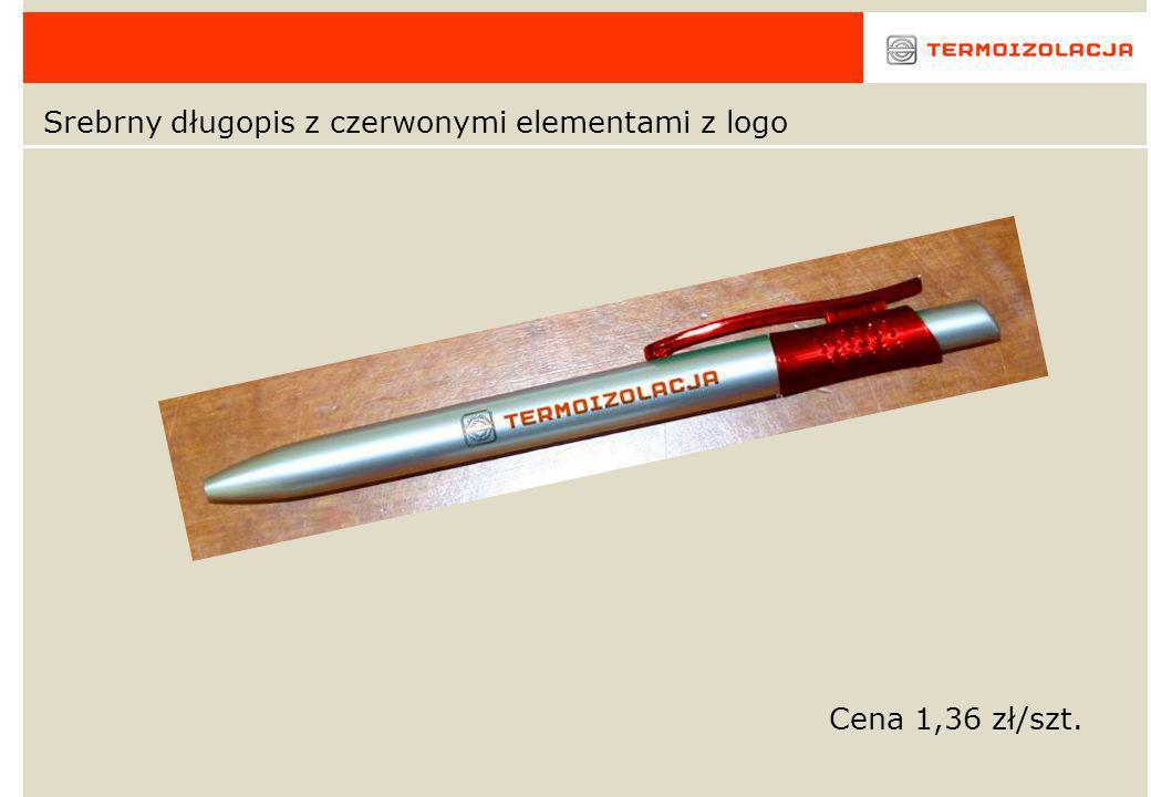Srebrny długopis z czerwonymi elementami z logo