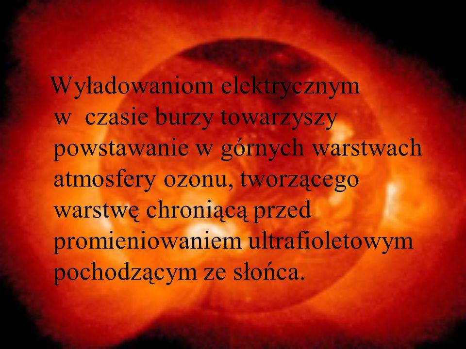 Wyładowaniom elektrycznym w czasie burzy towarzyszy powstawanie w górnych warstwach atmosfery ozonu, tworzącego warstwę chroniącą przed promieniowaniem ultrafioletowym pochodzącym ze słońca.