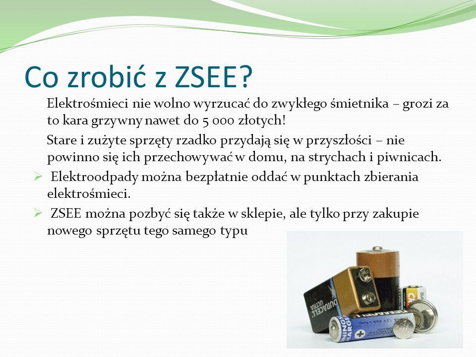 Co zrobić z ZSEE Elektrośmieci nie wolno wyrzucać do zwykłego śmietnika – grozi za to kara grzywny nawet do 5 000 złotych!