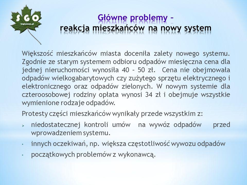 Główne problemy – reakcja mieszkańców na nowy system