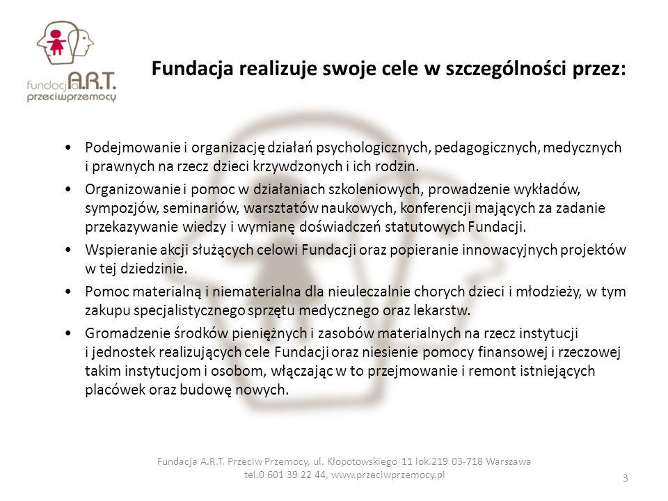 Fundacja realizuje swoje cele w szczególności przez: